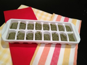 Pesto in ice cube tray ready for freezer.