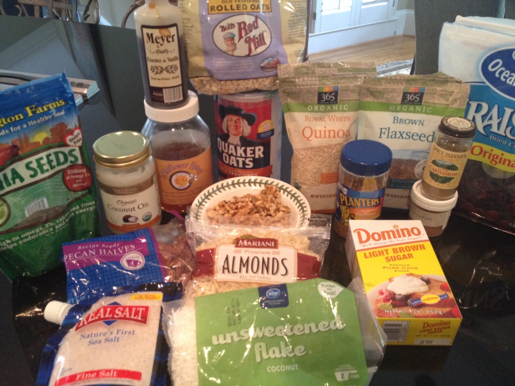 Items for Granola  -  A Starting Place  -  Be creative and add your own favorite indigents.