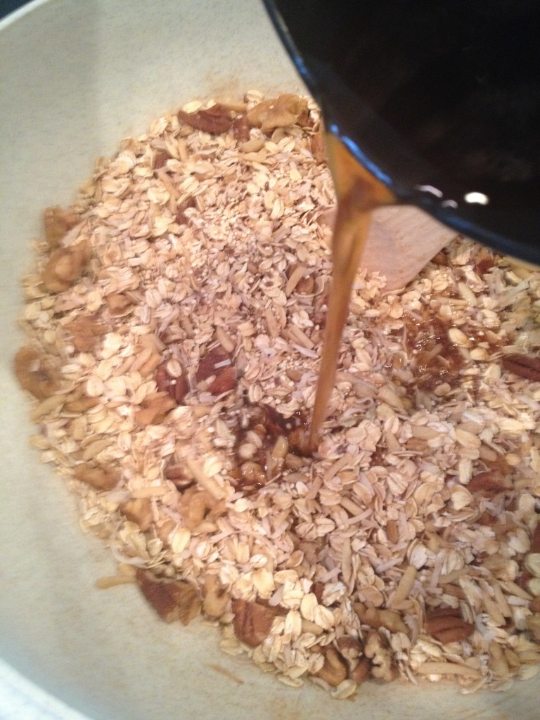 Pour liquid over dry ingredients and mix well.