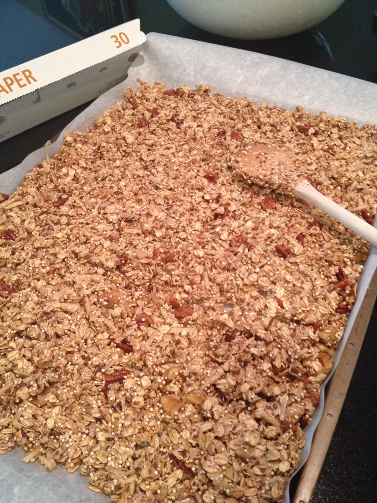 Pour onto baking sheet lined with parchment paper and spread out evenly.