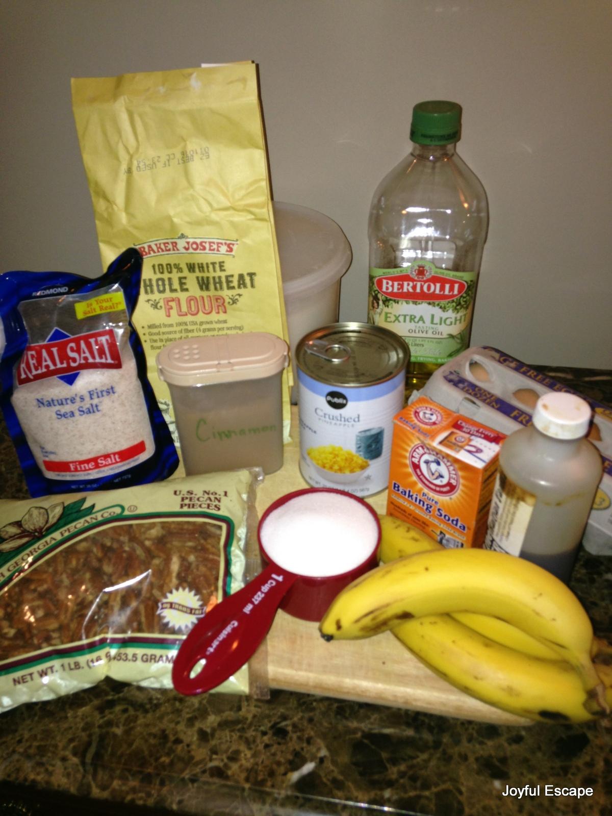 Ingredients for Hawaiian Banana Nut Bread