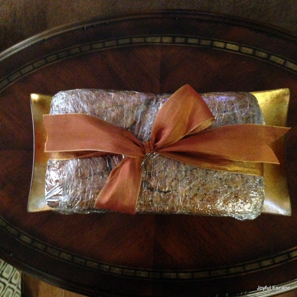 Wrapped and ready to share the joy of homemade bread for a fall gift.