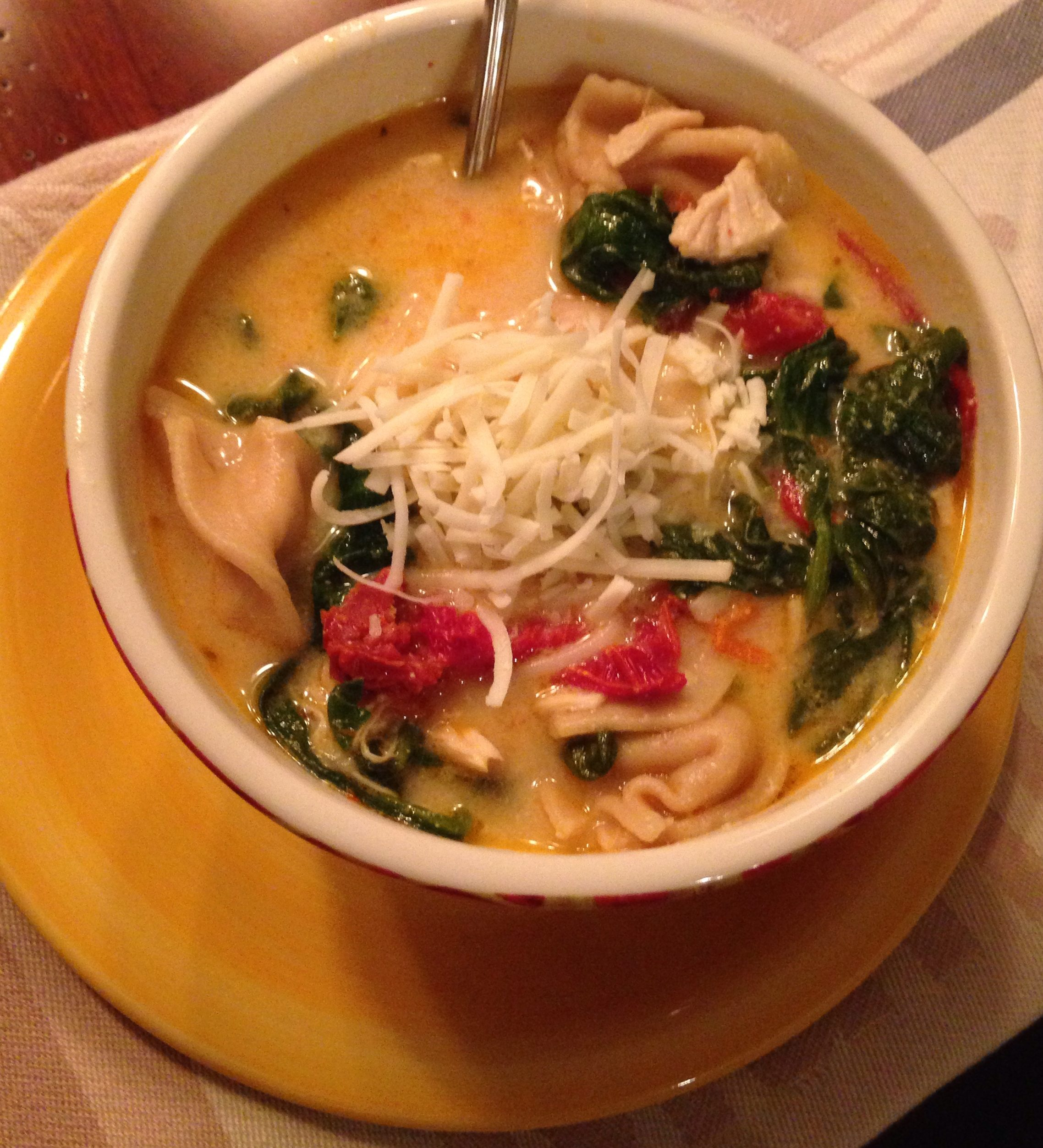 Delicious Bowl of Hearty Chicken Tortellini Florentine Soup