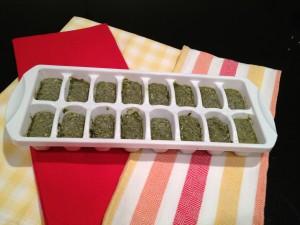 Pesto in ice cube tray ready for freezer.
