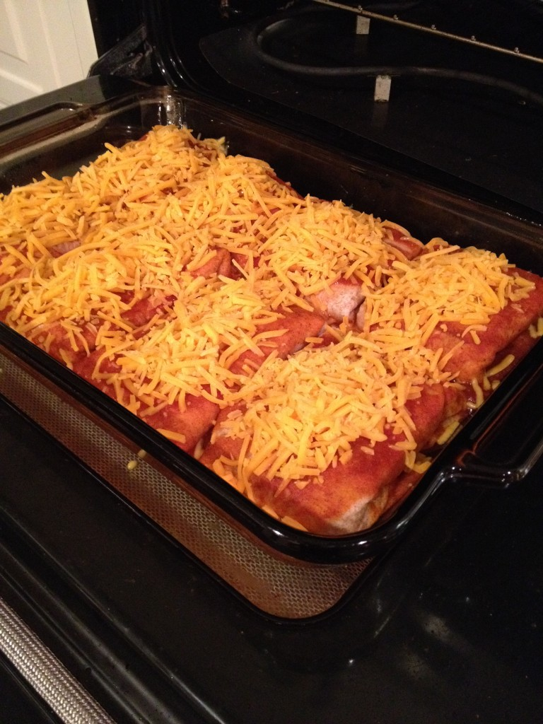 Burritos baked and cover removed and topped with cheese - bake additional 5 minutes