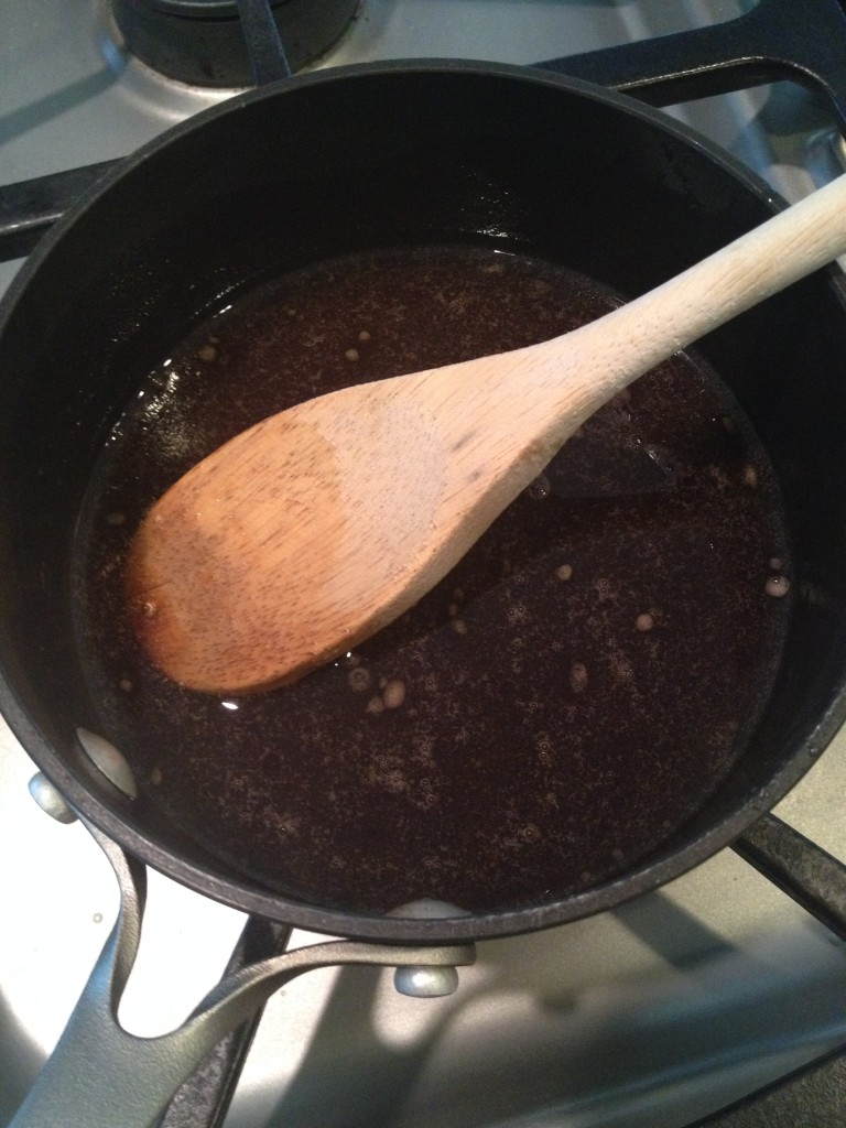 Coconut Oil, honey, maple syrup, vanilla and brown sugar.  Heat till all melted and mixed.